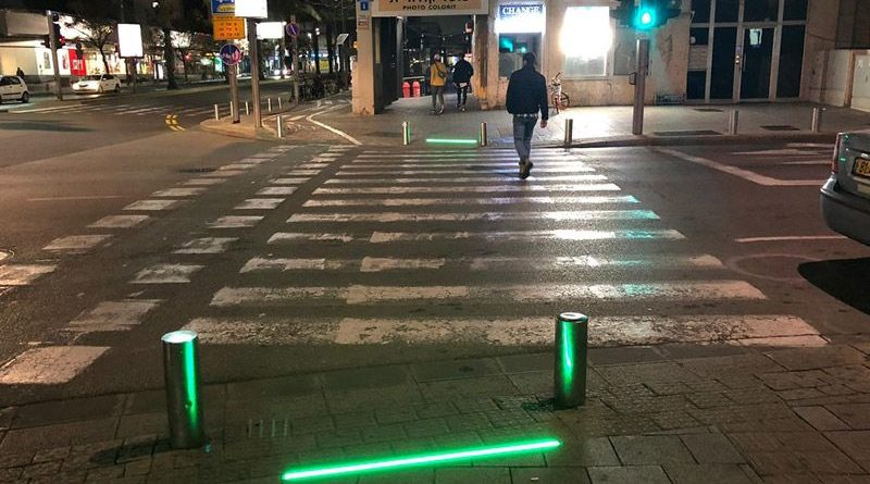 The LED light strips at a pedestrian crossing in Tel Aviv