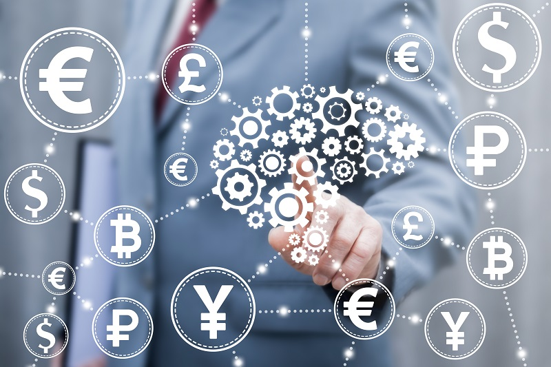 Brain gear development ideas business finance concept. Brainstorm, money idea, fintech, trade exchange web computing technology. Businessman touched brain cogwheel icon on virtual financial screen.