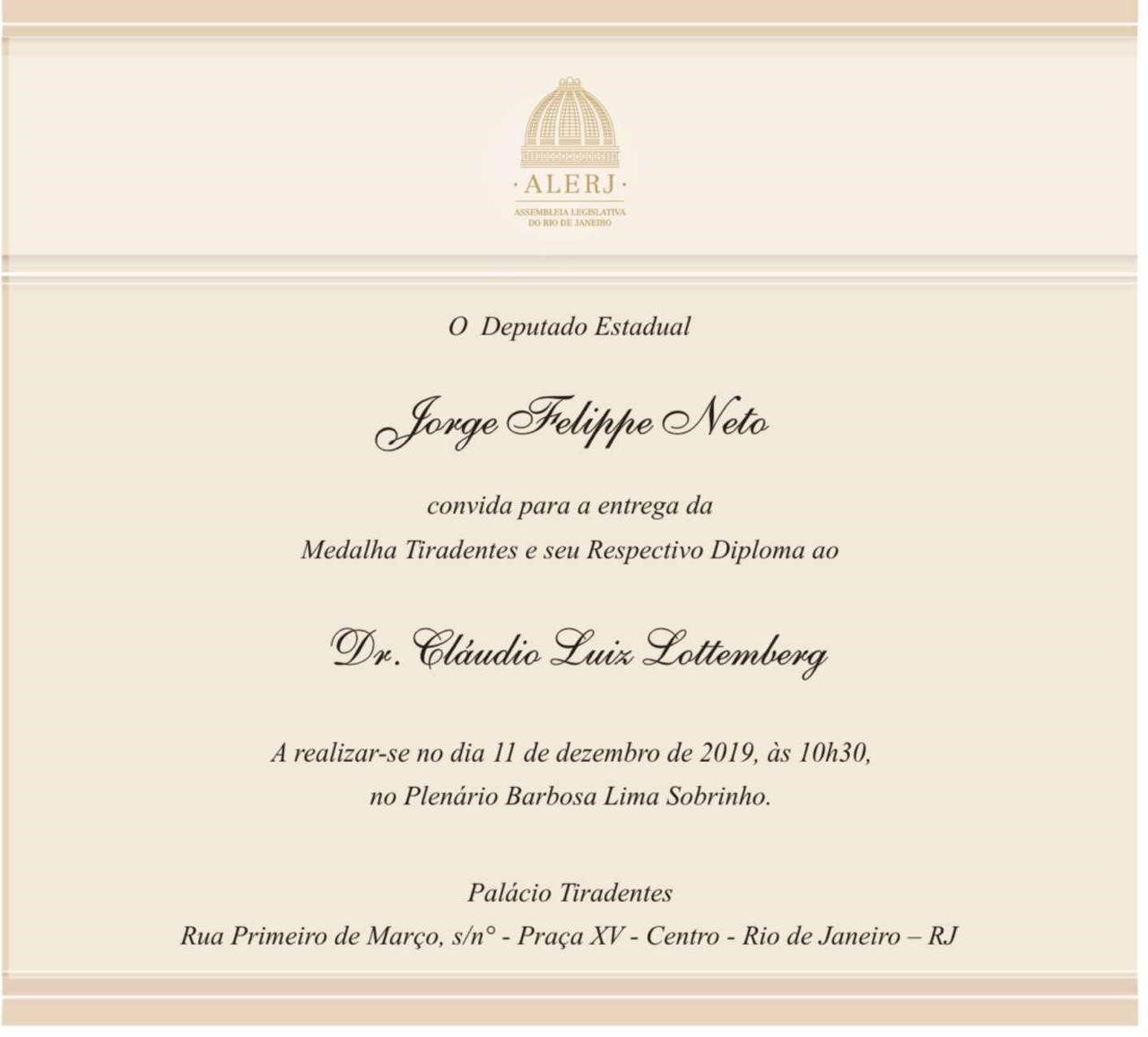 Cláudio Luiz Lottenberg Medalha Tiradentes