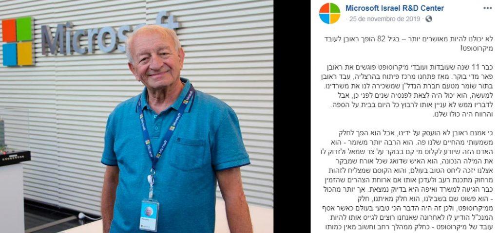 Microsoft de Israel contrata funcionário de 82 anos
