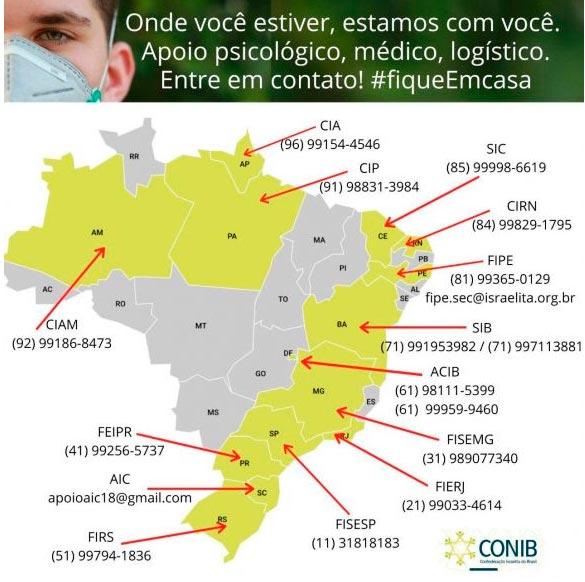 Coronavírus Federações Israelitas pelo Brasil adotam medidas para ajudar as suas comunidades