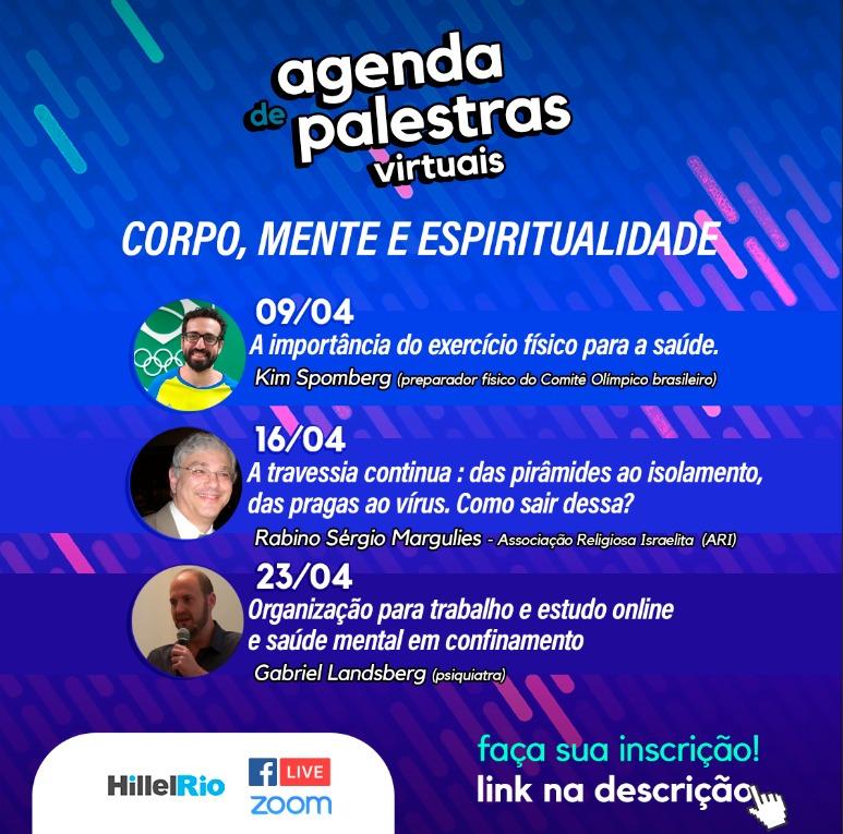 Hillel Rio promove palestras online sobre corpo, mente e espiritualidade