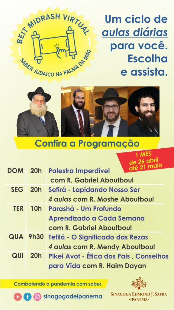 Sinagoga Edmond J.Safra Ipanema promove aulas diárias online