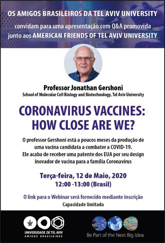 Participe da live com o cientista israelense que está próximo de descobrir vacina contra o Covid-19